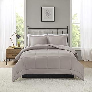 Madison Park Sarasota All Season Microcell Down Alternative Box Quilted Comforter Mini Set, King/Cal King, Taupe