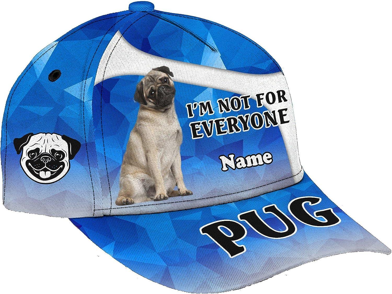 Personalized Name 3D Printed Unisex Cap Hat My Dog Pug Personalized Name Cap Text Name Customized Classic Cap Snapback Cap Baseball Cap for Men Women Sports Outdoor