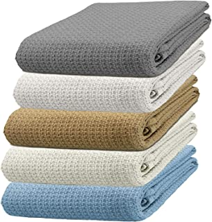 TreeWool 100% Soft Premium Cotton Thermal Blanket in Basket Weave - Easy Care Comfortable and Warm Season Bed Layering (Queen Size - 90