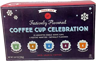 Trader Joe's Festively Flavored Coffee Cup Celebration 20 Assorted Single Serve Cups, 5 Festive Varieties