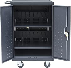 Pearington 18 Device Mobile Charging and Storage Cart for iPads, Chromebooks and Laptop Computers, Up To 17-Inch Screen Size, Surge Protection, Front & Back Access Locking Cabinet