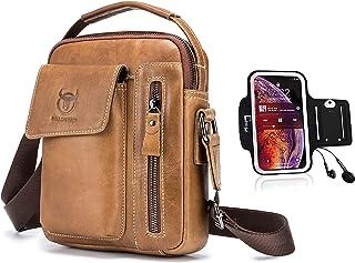 Shoulder bag, ZHAOSA men's retro business casual leather shoulder bag outdoor sports travel messenger bag handbag casual b...