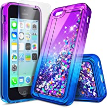 iPhone 5C Case with Screen Protector HD Clear for Girls Kids Women, NageBee Glitter Liquid Quicksand Waterfall Floating Fl...
