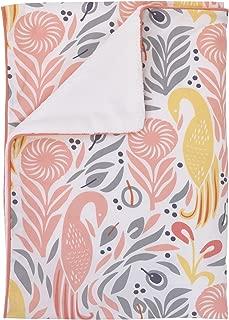 Dwell Studio Boheme Peacock/Floral Print Double Sided Cotton/Velour Blanket, Peach/Gold/Gray