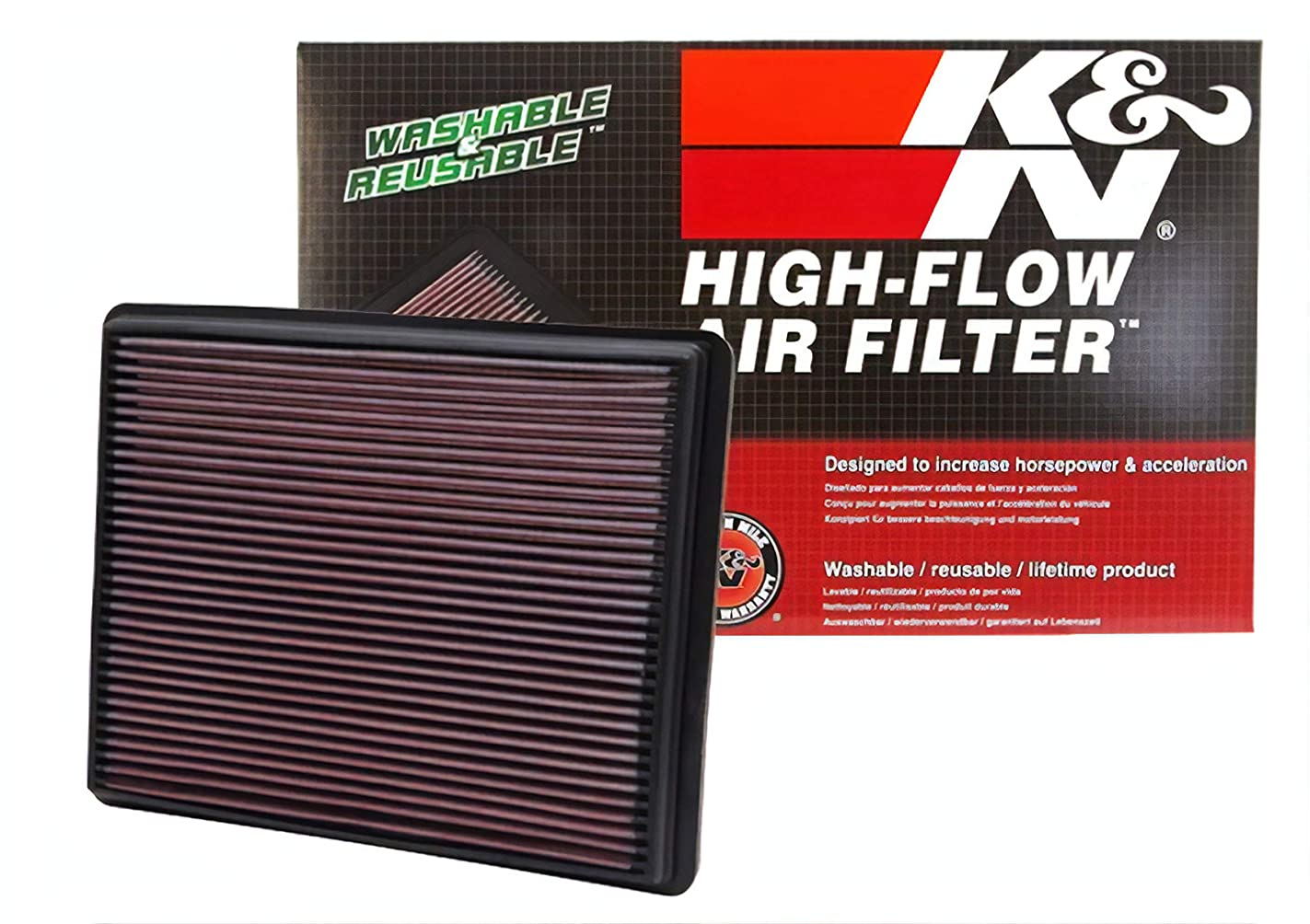 K&N 33-2129 High Performance Replacement Air Filter for 1999-2017 Chevy/GMC Truck V6/V8 yxp18604441