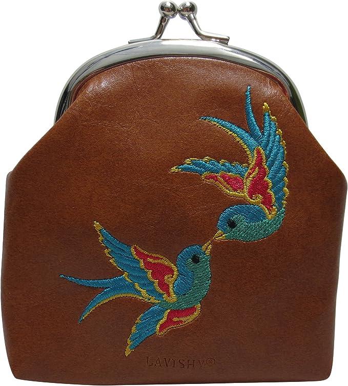 little bird kiss lock purse Coin purse clutch with embroidered bird