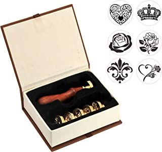 Wax Seal Stamp Set,Yoption 6 Pieces Romantic Rose Heart Flower Sealing Wax Stamps Gift Kit with Brass Head + Wooden Handle (Flower+The Rose3+Heart+Crown)
