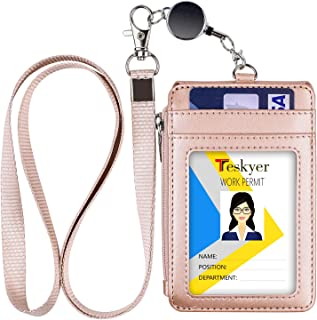 Teskyer Badge Holder with Zipper, PU Leather ID Badge Holder with 4 Card Slots and Zipper Pocket, 32 Inch Retractable Neck Lanyard for Hold Offices ID, School ID, Driver Licence, Passing Cards
