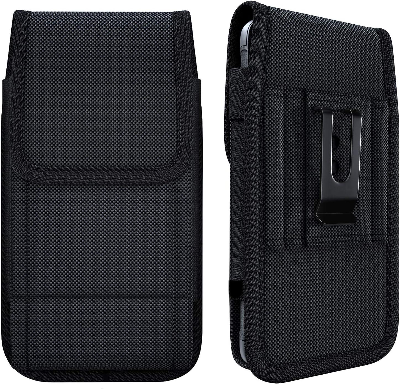 Meilib Belt Holster Case Designed for iPhone 12 / 12 Pro / X 10 / Xs / 11 Pro, Samsung Galaxy S6 S7 S8 S9 S10 S10e A40 A41 A20e, Google Pixel 2 3 4 4a 5 Belt Clip Holster Fits w/ Other Case on - Black