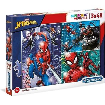 Clementoni 25238 Clementoni-25238-Supercolor Puzzle-Spiderman-3 x 48 Teile, Mehrfarben