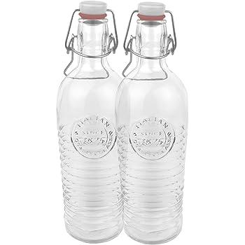 """Set di 2 bottiglie in vetro a costine da 1,2 litri """"Officina 1825"""", con decorazione in rilievo e tappo con chiusura meccanica"""