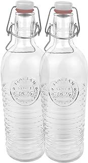 Bormioli 2er Set Glasflasche Officina 1825 – geriffelte 1,2 Liter Flasche mit..
