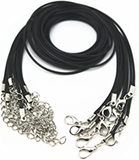 Glory Qin 10pcs Black Leather Necklace Cord Chain 1.5mm 2
