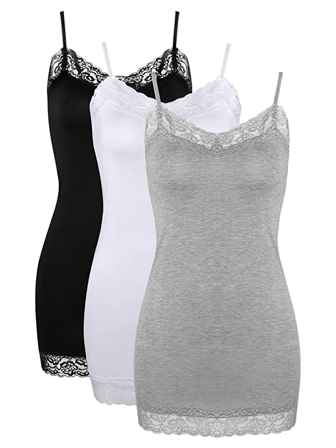 3 Pack Women Tank Tops Lace Cami Camisoles Adjustable Spaghetti Strap Lace Tank Top for Girls Wearing