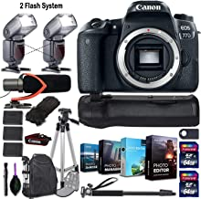 Canon EOS 77D DSLR Camera (Body Only) + 2 Flash System with Deluxe Accessory Kit (4-Pack Photo/Video Editing Software, Pro...
