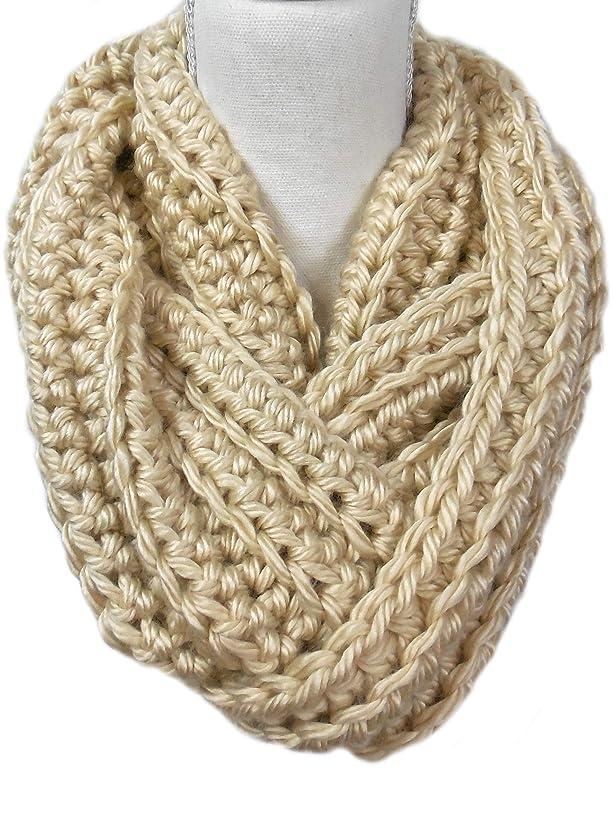 Warm N Soft Honey Beige Chunky Infinity Cowl Scarf Crochet Handmade
