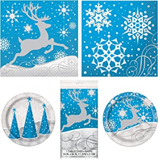 Unique Silver Snowflake Christmas Party Bundle | Luncheon & Beverage Napkins, Dinner & Dessert Plates, Table Cover | Great for Christmas Parties, Holiday Celebrations, and Themed Gatherings