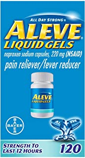 Aleve Liquid Capsules, Naproxen Sodium Capsules 220 mg (NSAID), Pain Reliever/Fever Reducer, Fast Pain Relief, 120 Count