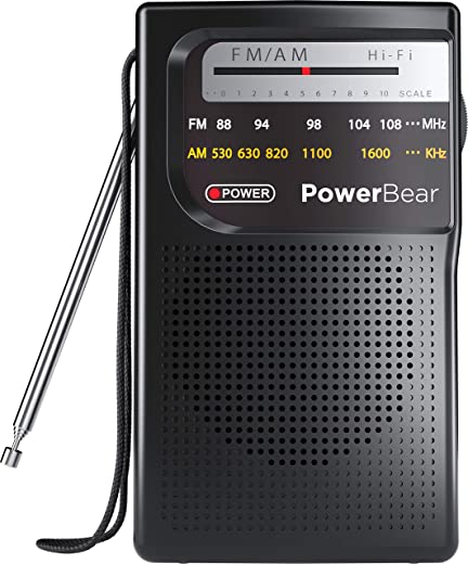 PowerBear Portable Radio | AM/FM, 2AA Battery Operated with Long Range Reception for Indoor, Outdoor & Emergency Use | Radio with Speaker & Headphone Jack (Black)