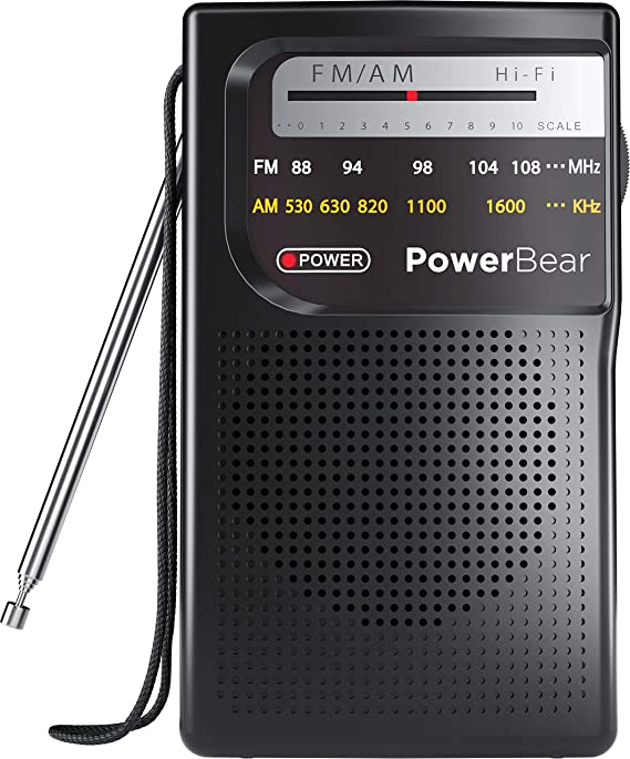 PowerBear Portable Radio   AM/FM, 2AA Battery Operated with Long Range Reception for Indoor, Outdoor & Emergency Use   Radio with Speaker & Headphone Jack (Black)