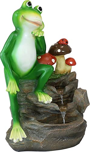 high quality Sunnydaze Mindful Frog wholesale Outdoor Water Fountain - Perfect Patio Water sale Feature Accent for Lawn, Garden, Front Porch, or Deck - Corded Electric -23-Inch sale
