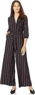 GABBY SKYE Women's 3/4 Sleeve V-Neck Stripe Belted Jumpsuit