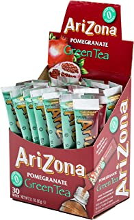 AriZona Pomegranate Green Tea Iced Tea Stix Sugar Free, 30 Count Box (Pack of 1), Low Calorie Single Serving Drink Powder Packets, Just Add Water for a Deliciously Refreshing Iced Tea Beverage