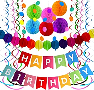 Colorful Birthday Decorations Party Supplies, Colorful Happy Birthday Banner, Honeycomb Poms, Garland Circle Dots, Hanging Swirls for Fiesta Party Mexican Carnival Kids Family Birthday Party Decorations
