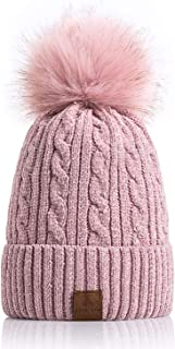 Women Winter Pom Pom Beanie Hats Warm Fleece Lined,Chunky Trendy Cute Chenille Knit Twist Cap