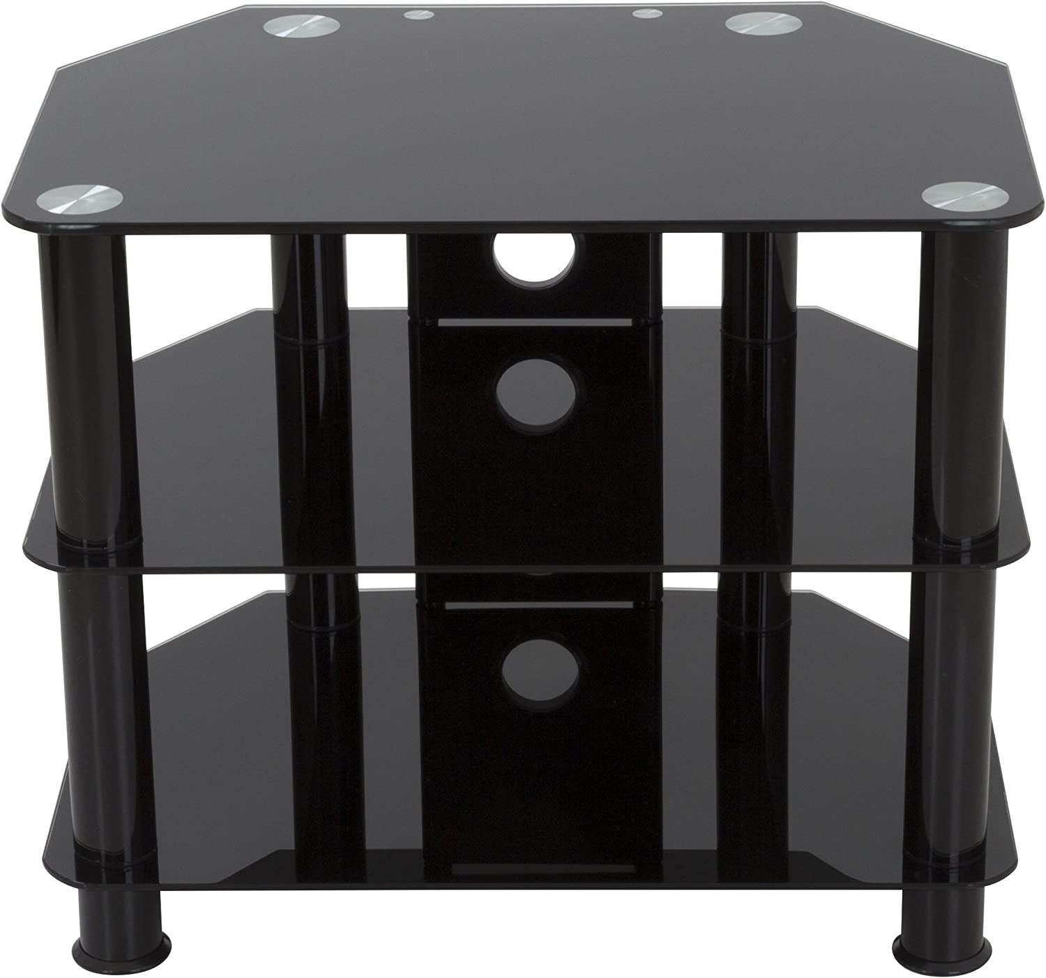 AVF SDC600CMBB-A TV Stand with Cable Management for up to 32-inch TVs, Black Glass, Black Legs