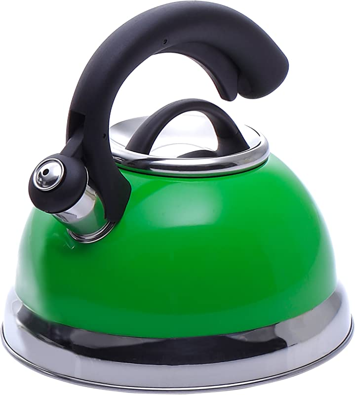 Creative Home 77039 Symphony Green Over Stainless Steel Body Whistling Tea Kettle With Capsulated Bottom 2 6 Quart