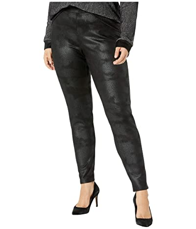 HUE Plus Size Textured Microsuede Leggings (Black) Women