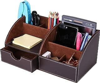 Exerz EX8077 Premium Grande Organizador de Escritoriode Cuero sintético/Organizador de Oficina/Portalápices/Sistema de Escritorio/Organizador Multifuncional - Marrón Oscuro