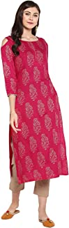 Janasya Women's Pink Rayon Foil Print Straight Kurta With Narrow Pant