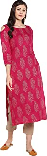 Janasya Women's Pink Rayon Foil Print Straight Kurta With Narrow Pant