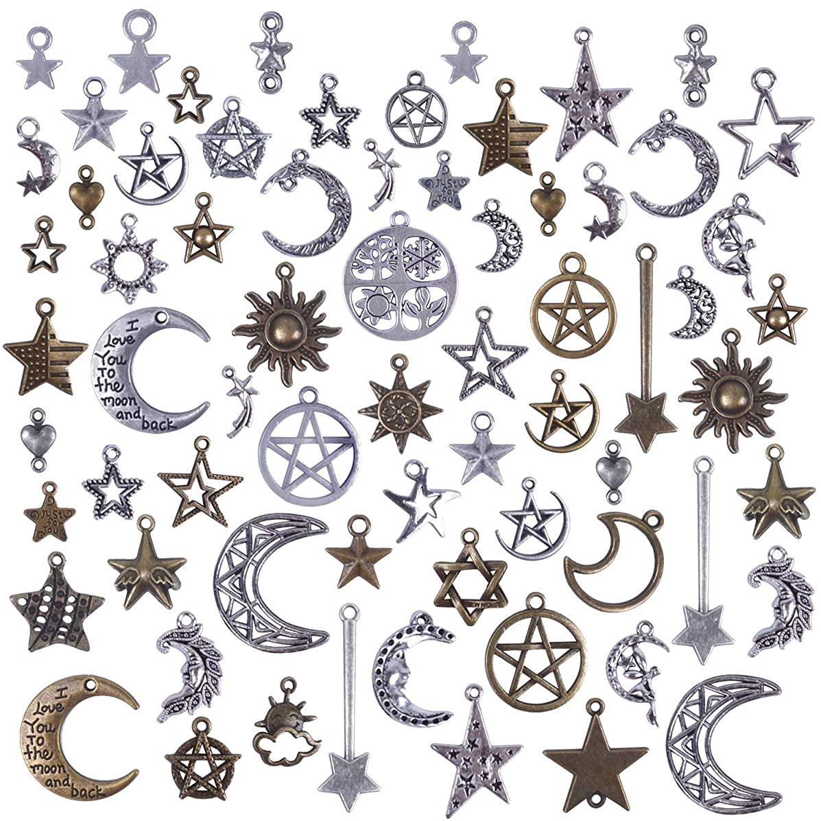 BronaGrand 100 Gram(Approx 73 Pieces) Mixed Sun Moon Star Charms Antique Celestial Charms Pendants for Bracelets, Necklaces, Crafts and Jewelry Making, Assorted Colors