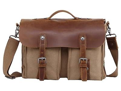 TSD Brand Hudson Canvas Messenger Bag (Khaki) Messenger Bags
