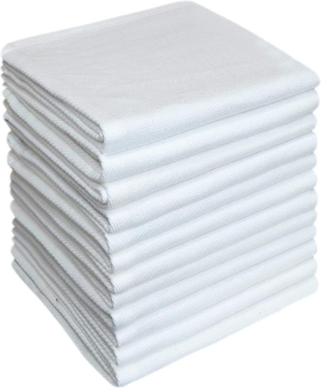 Tiny Break Dish Cloth 12 X 12 Inch 100 Cotton Absorbent Quick Dry Cleaning Towels White 12 Pack