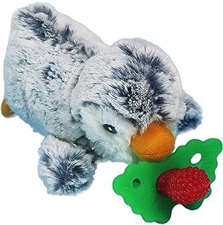 RaZbaby RaZbuddy RaZberry Teether/Pacifier Holder w/Removable Baby Teether Toy - 0M+ - Bpa Free - Penguin