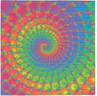 Gdabs Psychedelic Blotter Art Print Perforated Sheet/Paper 15x15 - Rainbow Spiral Design