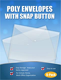 Clear Poly Envelopes with Snap Button for Home School and Work Office Organization, 6-Pack