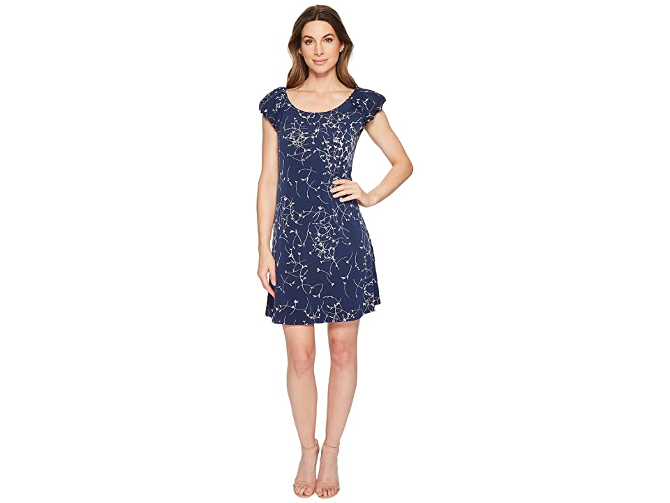 CeCe Puffed Short Sleeve Ditsy Swirls Dress (Naval Navy) Women