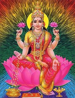 富の女神ラクシュミ Lakshmi Goddess of Wealth Painting silk fabric poster シルクファブリックポスター 44cm x 33cm