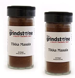 The Grindstone | INDIAN TIKKA MASALA | Spices of the World | Non GMO | Hand Blended Spices | 1/2 Cup Size | 2.50 oz. Glass Bottle with Sifter | Pack of 2
