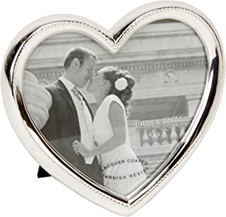 Oaktree Gifts Silver Plated Heart Alloy Photo Frame 4 x 4