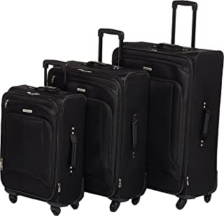American Tourister Pop Max Softside Luggage with Spinner Wheels, Black, 3-Piece Set (21/25/29)