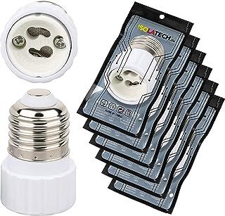 E27 till GU10-adapter uttagsadapter för E27-lampor och GU10 lamputtag (max 250 V/2 A) från ISOLATECH; (timer: 6 stycken)