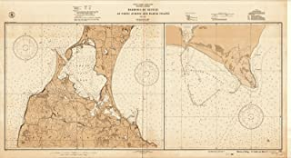 Map - Harbors Of Refuge, 1941 Nautical NOAA Chart - Vintage Wall Art - 24in x 13in