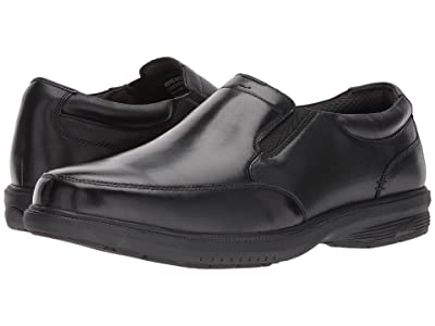 Nunn Bush Myles Street Moc Toe Slip-On with KORE Slip Resistant Walking Comfort Technology (Black) Men