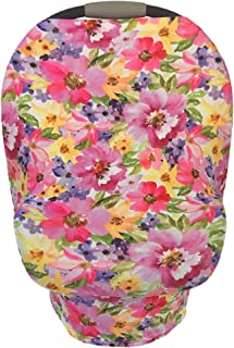 6 in 1 Pink Infant Car Seat Cover, Nursing Cover, Shopping Cart, High Chair Cover-Cotton-Stretchy-Breathable-Watercolor Floral
